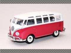 VOLKSWAGEN SAMBA VAN ~ RED | 1:25 Diecast Model Car